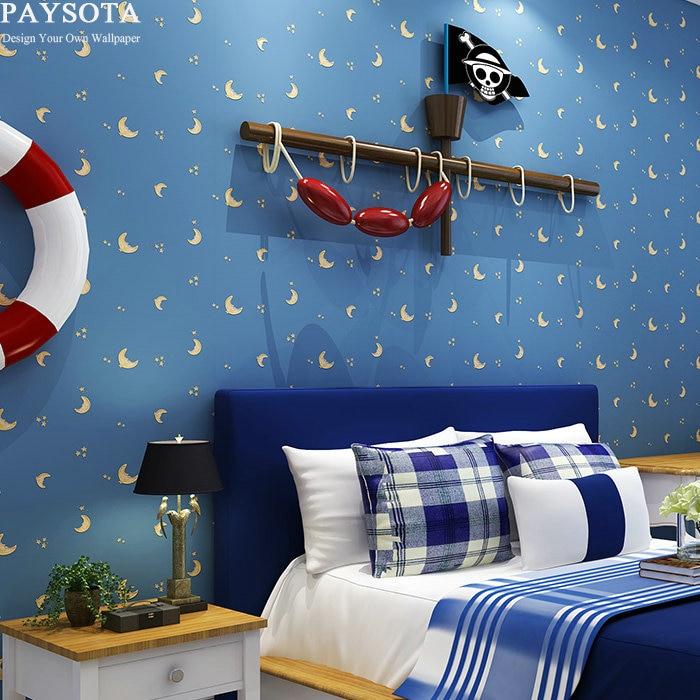Papier Peint Papel De Parede Paysota Cartoon Non-woven Wallpaper Moon Stars Boys And Girls Bedroom Children Room Wall Paper <br>