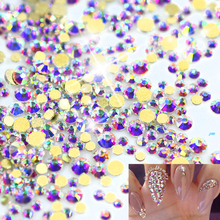 1440pcs 3D Nail Rhinestones Crystal Gold Base DIY Charm Flatback Diamond Nail Art Sparkly Flatback Decorations Accessory TRNJ246(China)