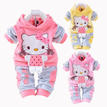 New Hello Kitty Baby Girls Clothing Set Spring Cotton Long Sleeved Children Hooded Clothes Pants 2 Pieces Suit Kids Clothing(China)