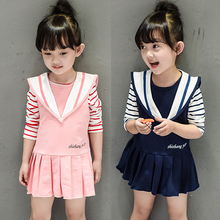 2017 fashion baby girls long sleeve dress active autumn spring striped t shirt vest dresses cheap vestidos children two suits