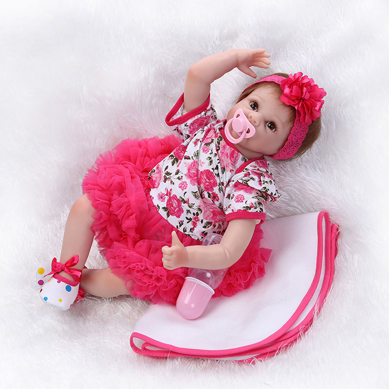22inch Silicone Reborn Dolls Toys 55cm PP Cotton Body Newborn Boneca Toys Realistic Lifelike Girl Babies Doll Toys Brinquedos<br><br>Aliexpress