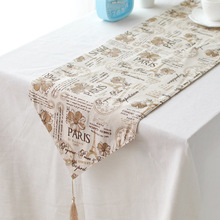 Customized cotton ancient British style decoration cabinet's gift linen table runner(China)