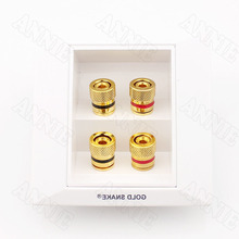 30pcs/lot Good Quality Banana Audio Panel For Gold Snake 4 Interface Speaker Wire Box Plug Connector(China)