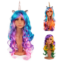 Unicorn Wig Halloween Wedding Christmas Bachelorette Party Decoration New Year Craft Supplies 4 styles Cartoon horse cosplay0087