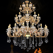 gold chandelier antler extra large chandeliers hotel hall large candle chandelier living room retro gold crystal chandeliers(China)