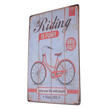 Vintage Riding Bicycle Poster Tin Sign Metal Painting Antique Crafts Iron Retro Plaque Home Wall Decor Cafe Bar Signs 20x30CM
