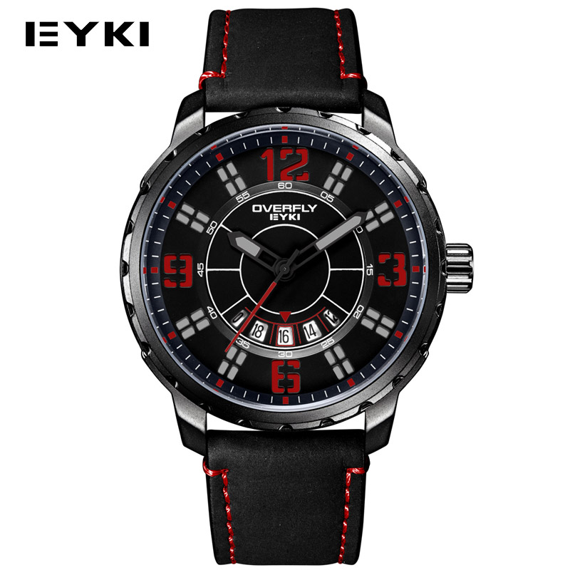 EYKI 2017 New Military Auto Date Man Clock Top Brand Vintage Sports Leather Band Mens Wrist Watches Waterproof relogio masculino<br><br>Aliexpress