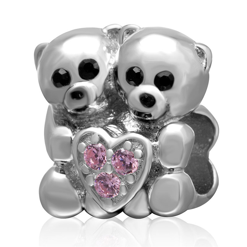 Fits Pandora bracelet panda beads pink zircon beads friendship charm 925 sterling silver charms jewelry diy making wholesale(China (Mainland))