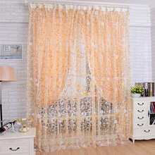 Hot Selling 1M x 2M Chic Room Floral Pattern Voile Window Curtain Sheer Voile Panel Drapes Curtain Low Price VB243 P10(China)