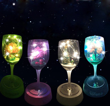 Romantic Goblet Table Lamp Mini Landscape DIY USB Rechargeable Colorful Night Light Cup Decoration Night Light Glass Lamp