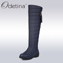 Odetina Brand Large Size Snow Boots Waterproof Over The Knee Boots Thigh High Boots Long 2016 Winter Shoes Women Fashion Warm(China)