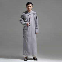 2017 Chinese Style Linen Tea Hanfu Long Design Householders Service Kimono Autumn and Winter Long Gown Men's Clothing