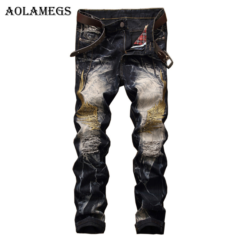 Aolamegs Men Jeans Pants Hole Embroidery Wing Full Length High Street Crest Summer Elastic Light Self Cultivation Denim StraightÎäåæäà è àêñåññóàðû<br><br>