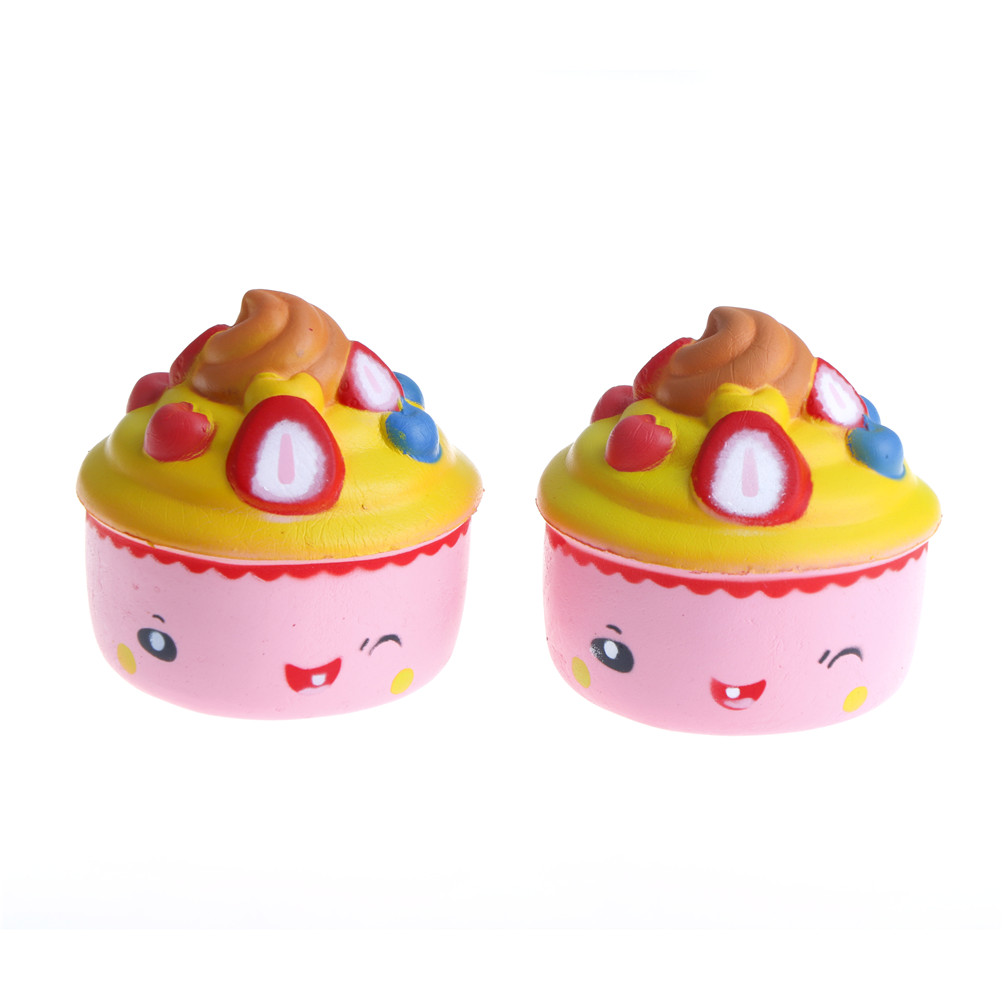 Chic Strawberry Ice Cream Squishy Slow Rising 10CM Jumbo Fruit Face Cake Cute Phone Straps Soft Scented Bread Kid Fun Toys Gift