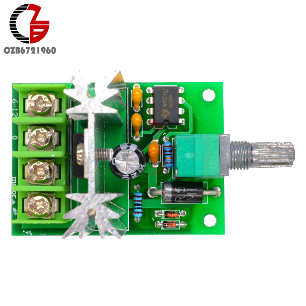 High Power 6A 6V-12V PWM No-Polarity DC Motor Speed Regulator Controller Board Speed Motor Control Switch Board 6