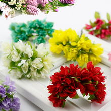 12 pcs/lot Silk Cherry Blossoms Small Artificial flowers Poppy Bouquet Wedding Decoration Mini Fake flowers For DIY Scrapbooking