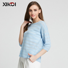 XIKOI New Women's Sweaters Casual O-neck Three Quarter Striped O-Neck Pullovers Flat Knitted Sweater Pullover HXSS16094