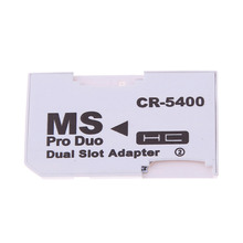 Hot Dual 2 Slot Super Speed Card Reader Micro SD TF to Memory Stick MS Pro Adapter White Duo for Camera PSP High Quality
