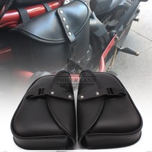 2X Black PU Leather Motorcycle Luggage Tool Side Bag Saddlebag Left+Right For Harley Davidson Sportster XL 883 XL 1200