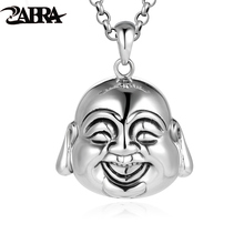 ZABRA Authentic 925 Sterling Silver Buddhist Maitreya Head Portrait Pendant For Vintage Punk Rock Men Jewelry(China)
