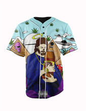 Real American Size  trill jesus 3D Sublimation Print Custom made Button up baseball jersey plus size