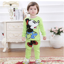 Korean spring autumn minnie mouse baby clothing sets children cotton long-sleeved track suit two pieces online baby shopping