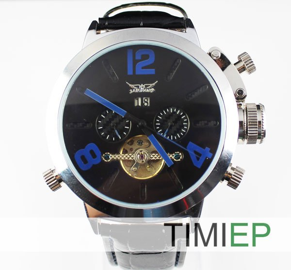 New UK Mens Mechanical Silver Skeleton Black Leather Men Man Mens Wrist Watch<br>