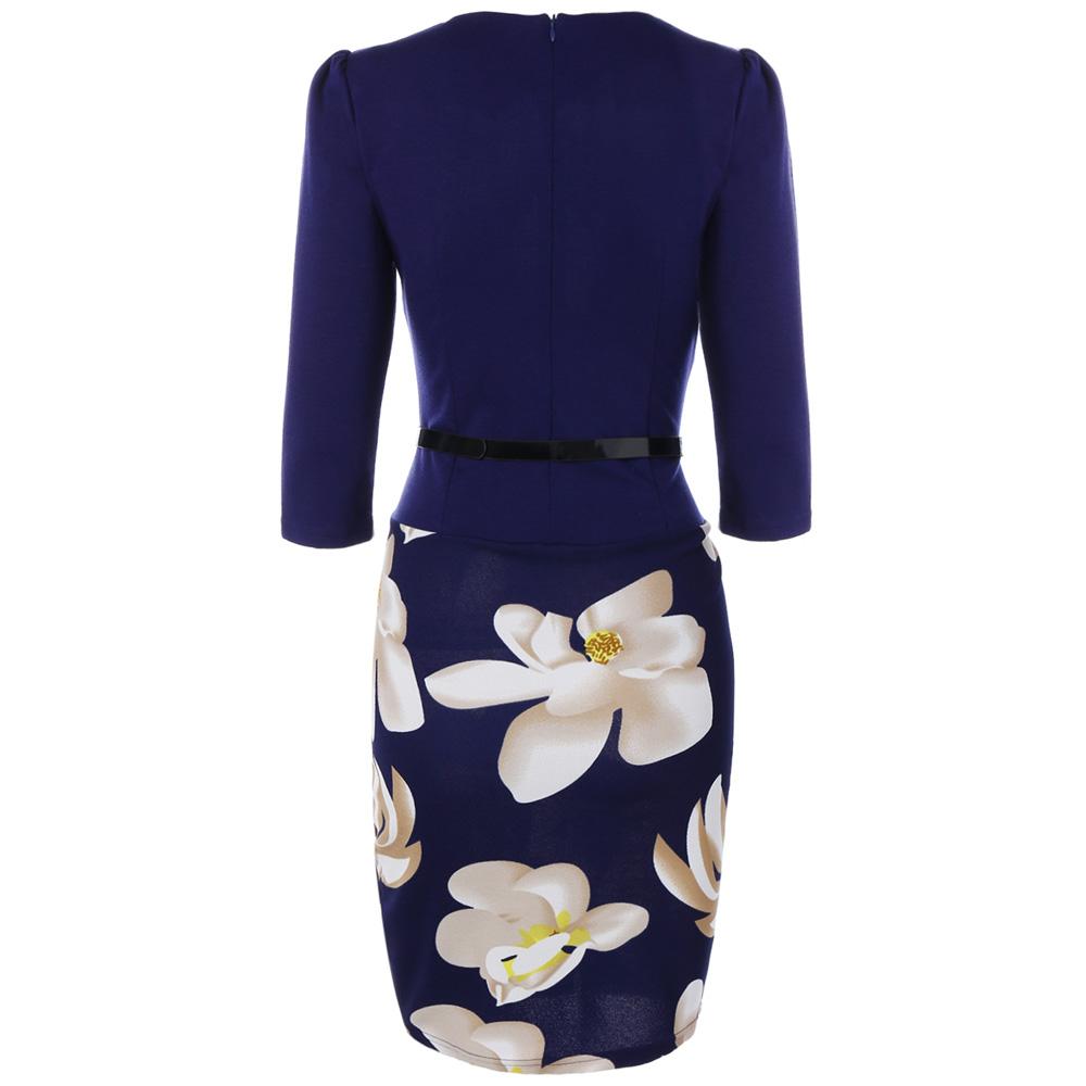 VESTLINDA Pencil Office Dress 5 Colors Plus Size Jacket Look Floral Print Women Vestidos Mujer Jurken Robe Slim Bodycon Dresses 9