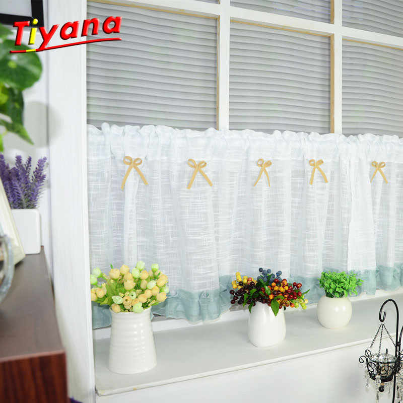 1pc White Roman Curtain Tulle hot sell White Curtain Kitchen Short Curtain Semi-shade Small Curtain for Home decor DL015 *30