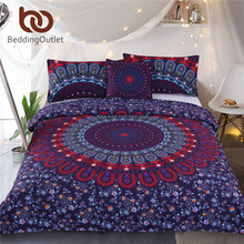 BeddingOutlet Mandala Bedding Set Queen Size Purple Concealed Bohemian Bedspread Duvet Cover Set 4Pcs Boho Home Textiles Fashion(China)