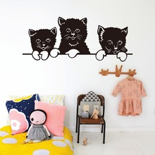 3 Small Cat Decorative Vinyl Wall Sticker Quotes For Kids Rooms Decoration Maison Bedroom Carved Sticker Mural(China)