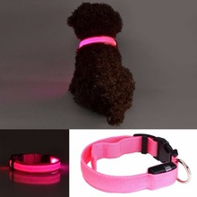 High quality HOT PINK LED Dogs Night Safety Pets Flashing Light Adjustable Nylon Collar Leash B