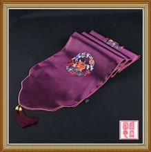 200*33cm Noble Chinese Vintage Embroidered Silk Beautiful Purple Table Runner Cloth& Bed Flag