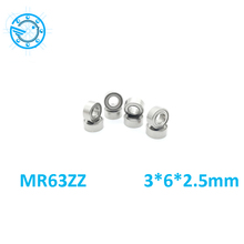 Free Shipping 10 PCS MR63ZZ MR63 ABEC-5 3*6*2.5 mm Deep groove Ball Bearings MR63 / L-630 ZZ