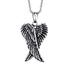 Necklace Jewelry businessmen stainless steel angel wings men pendant pendant wind Necklaces & Pendants