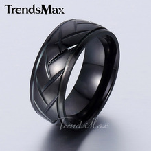 Trendsmax Elegant Mens Boys Black Tone Carved Arrow Stainless Steel Band Ring Grooved Dome Wedding Bands KR90