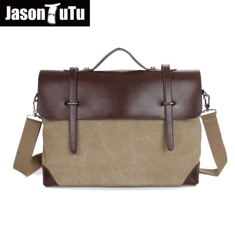 JASON TUTU Vintage Men Messenger Bags 2017 New male Satchel Canvas totes Fashion Crossbody bag Leather Patchwork Handbags B114<br><br>Aliexpress