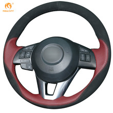 MEWANT Wine Red Leather Black Suede Steering Wheel Cover for Mazda 3 Axela 2013-2016 Mazda 6 Atenza 2014-2017 Mazda 2 2015-2017