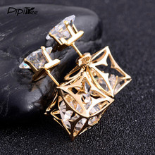 Hollow Square CZ Zircon Crystal Stud Earrings Pusety for Women Gold Color Double Side Clover Earrings with Stones Jewelry(China)