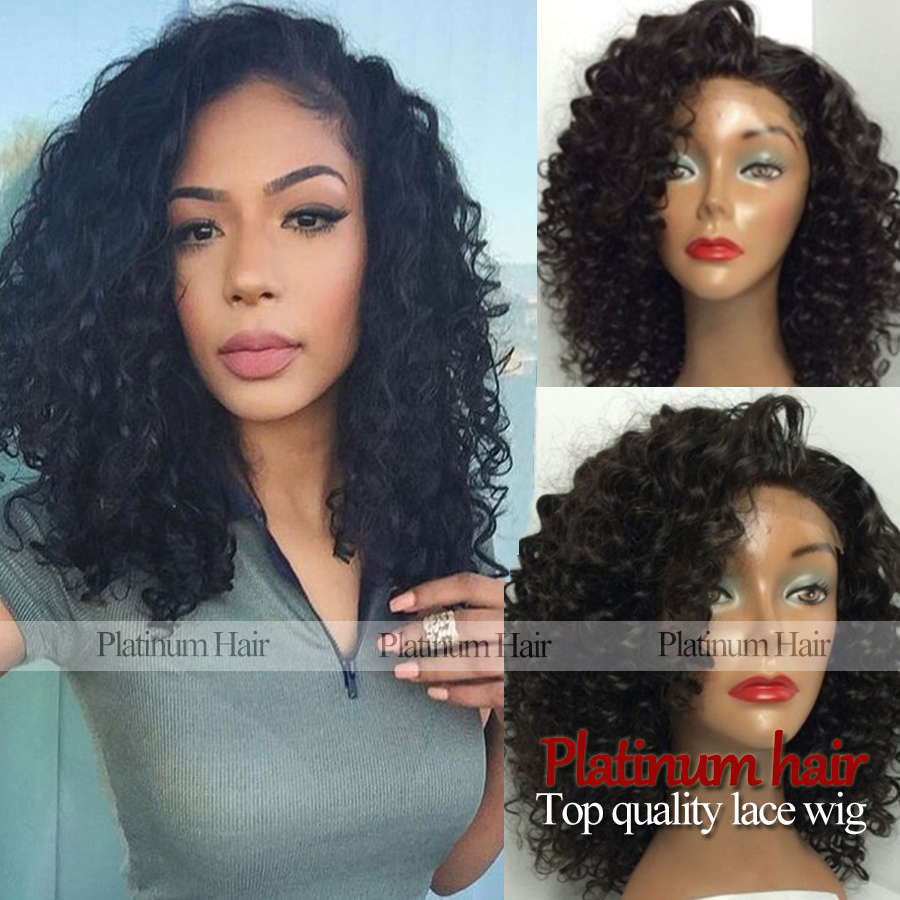 best quality fashion medium long kinky curly hair black color synthetic lace front afro curly synthetic wigs fiber for women<br><br>Aliexpress