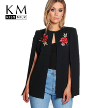 Kissmilk Women Plus Size Floral Embroidery Cloak Coat Open Stitch Solid Color Basic Tops Large Size female Cloak Coat(China)