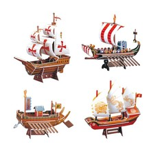 The Era Of Navigation Ship Fun 3D Puzzle DIY Model Kits Toy Children Educational Boy Splicing Hobby Building Cool(China)