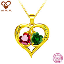 AIJAJA Personalized 925 Sterling Silver Heart Necklaces & Pendants Yellow Gold Color Name Engraved Birthstones Bijoux Necklace