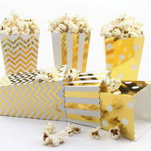 12pcs Gold/Silver Stiff Paper Party Popcorn Boxes Pop Corn Candy/Sanck Favor Bags Wedding Birthday Movie Party Tableware(China)