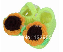 2014 New design Crochet Cotton Natural Fashion Sunflower with Leaf Soft Baby Toddler shoes 0-12M First walkers shoes(China)
