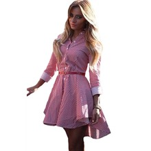 YJSFG HOUSE Casual Women Striped Irregular Dress Fashion Elegant 2017 Summer Long Sleeve Shirt Dress Ladies Tunic Party Vestidos