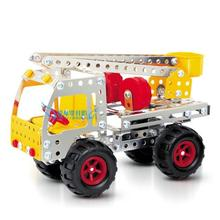 KINGTOY DIY metal alloy assemby building blocks toys fire ladder truck model diy toy(China)