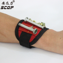 Magnetic Wristband Magnet Wristband with 6 Powerful Magnets, Adjustable Velcro Strap for Holding Tools, Screws