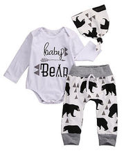 3Pcs 2016 baby Boysclothes Bear letter Pattern long sleeve Romepr+ pants +Hat 3pcs suit newborn baby boy clothing set(China)