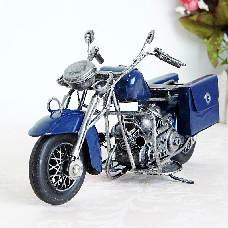23cm Cool Motorcycle Handmade Metal Craft Motorcycle Model Blue Yellow Red Vintage Art Craft Modern Fashion Home Decoration(China (Mainland))